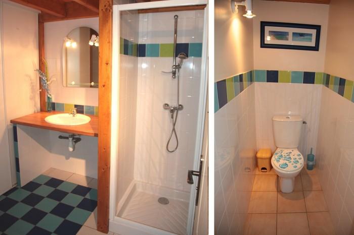 Salle d'eau avec douche et wc à la déco soignée