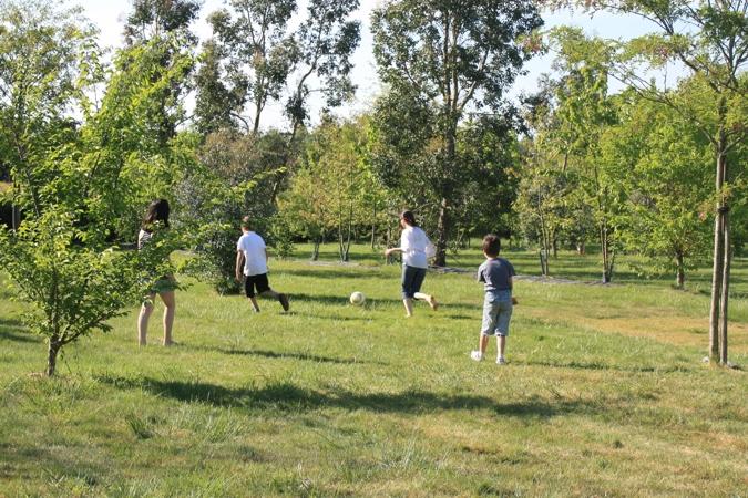 Parties de ballon dans le camping