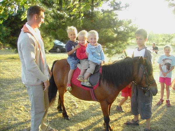 Jeunes enfants sur un poney