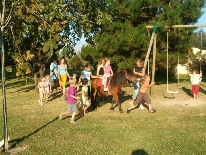 Balade à poney avec groupe d'enfants